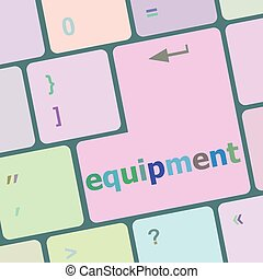 Computer keyboard key with equipment word vector illustration