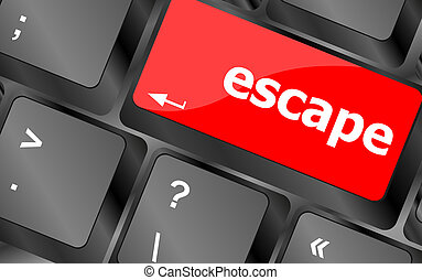 Computer keyboard key with escape word