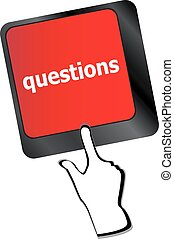 Computer keyboard key with key questions, closeup vector
