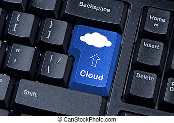 Computer keyboard key with the cloud.
