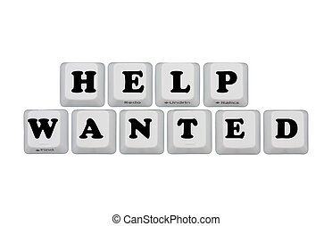Help Wanted - Computer keyboard keys displaying now hiring,...