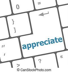 Computer keyboard keys with appreciate word on it