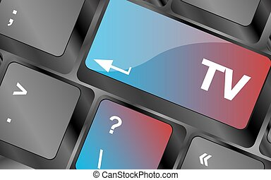 computer keyboard keys with tv button . keyboard keys. vector illustration