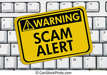Computer keyboard keys with warning sign with words Scam Alert, Scam Alert