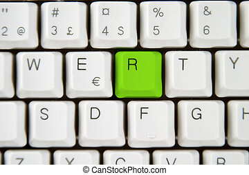 Computer Keyboard Letter R - Isolated letter R on from a...