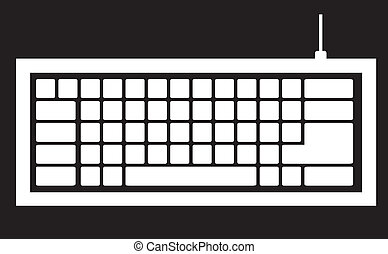 computer keyboard silhouette isolated on black background, vector illustration