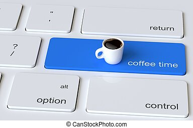 Computer keyboard white button with white coffee cup. Coffee time concept. 3d rendering