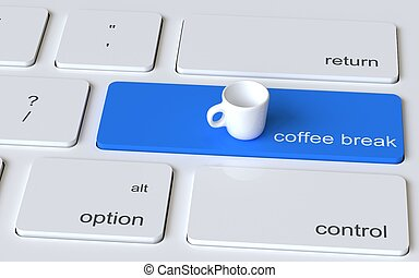 Computer keyboard white button with white empty coffee cup. Coffee break concept. 3d rendering