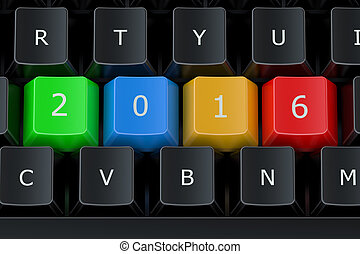 Computer keyboard with 2016 keys