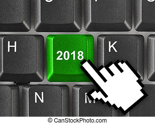 Computer keyboard with 2018 key