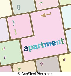 computer keyboard with apartment button vector illustration