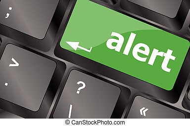 Computer keyboard with attention key alert - business background. Keyboard keys icon button vector