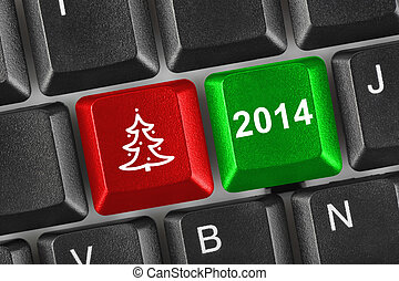 Computer keyboard with Christmas keys - holiday concept