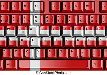 Computer Keyboard with Denmark Flag Concept
