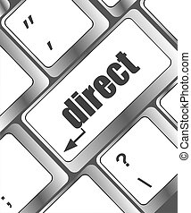 Computer keyboard with direct key. business concept