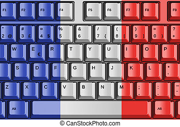Computer Keyboard with France Flag Concept