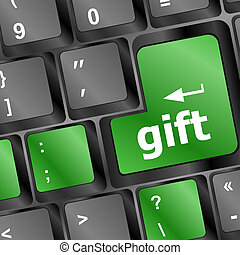 Computer keyboard with gift key - holiday background