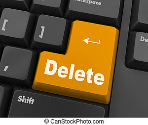 delete - Computer keyboard with key delete, close-up, raster...