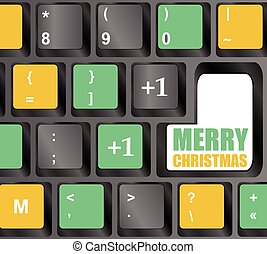Computer Keyboard with Merry Christmas Key vector illustration