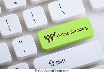 Computer keyboard with online shopping button