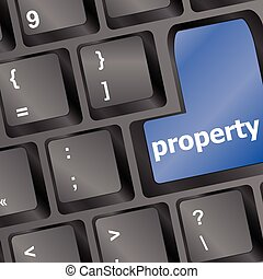 Computer keyboard with property word - business concept vector illustration