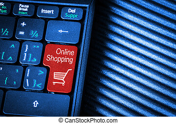 Computer Keyboard With Red Button Online Shopping Concept