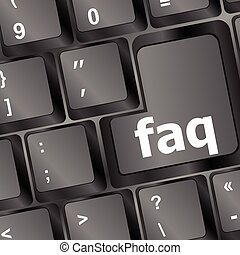 Computer keyboard with red key FAQ, closeup vector illustration