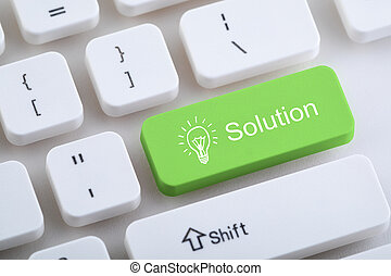 Computer keyboard with solution button