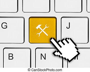 Computer keyboard with tools key