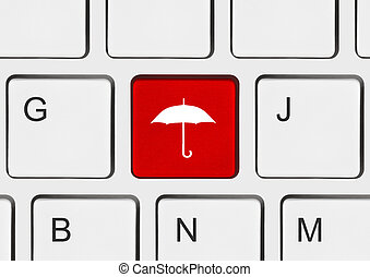Computer keyboard with umbrella key
