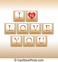 computer keys I Love You - illustration