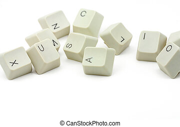 computer keys with white background