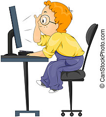 Computer Kid - Boy looking at Computer with Clipping Path
