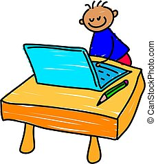 computer kid - little boy playing on a computer - toddler...