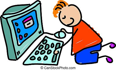 computer kid - little boy working on a computer - toddler...