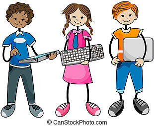 Computer Kids with Clipping Path
