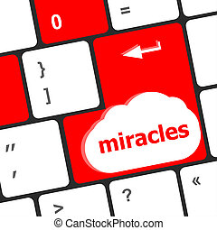 computer klaviatur, nøgle, knap, hos, mirakler, tekst