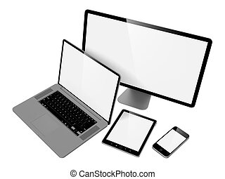 Computer, Laptop and Phone.