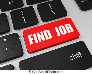 computer., laptop, arbeit, schlüssel, tastatur, finden
