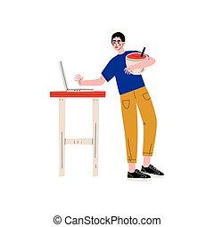 computer, laptop, cottura, giovane, illustrazione, vettore, usando, cucina, uomo