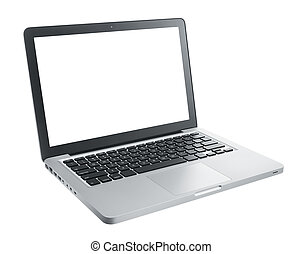 computer laptop isolated on white, blank on monitor