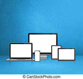 computer, laptop, mobile phone and digital tablet pc. blue background