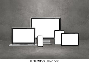 computer, laptop, mobile phone and digital tablet pc. Concrete background