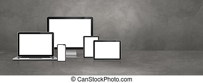 computer, laptop, mobile phone and digital tablet pc. Concrete banner