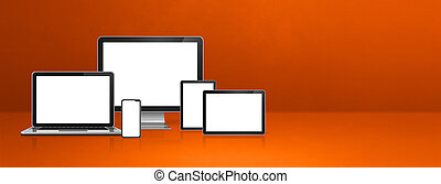 computer, laptop, mobile phone and digital tablet pc. orange banner
