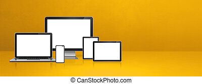 computer, laptop, mobile phone and digital tablet pc. yellow banner