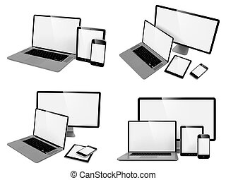 Computer, Laptop, Tablet and Phone.