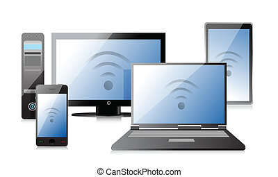 Computer, Laptop Tablet and Phone with connection