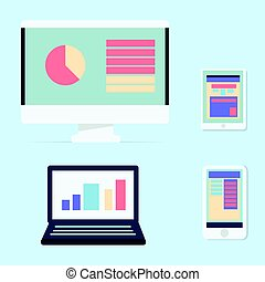 Computer, Laptop, Tablet and Smart phone color icons with information on screen and isolated blue background