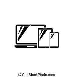 Computer Laptop, Tablet, Smartphone Flat Vector Icon